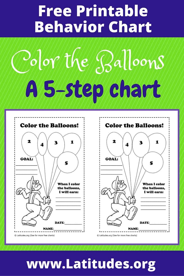 Color the Balloons Behavior Chart Pinterest