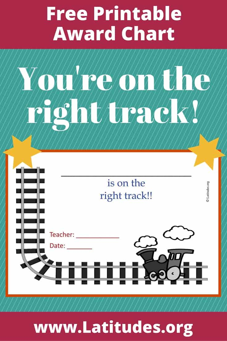 On the Right Track Award Chart Pinterest
