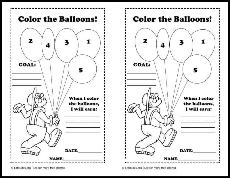 Coloring the balloons behavior chart