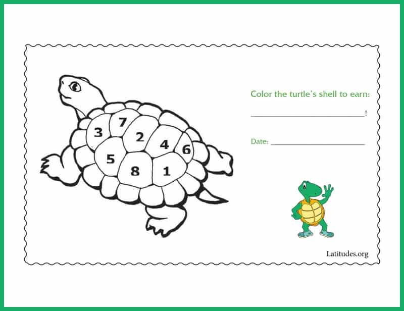 Color the turtle's shell behavior chart