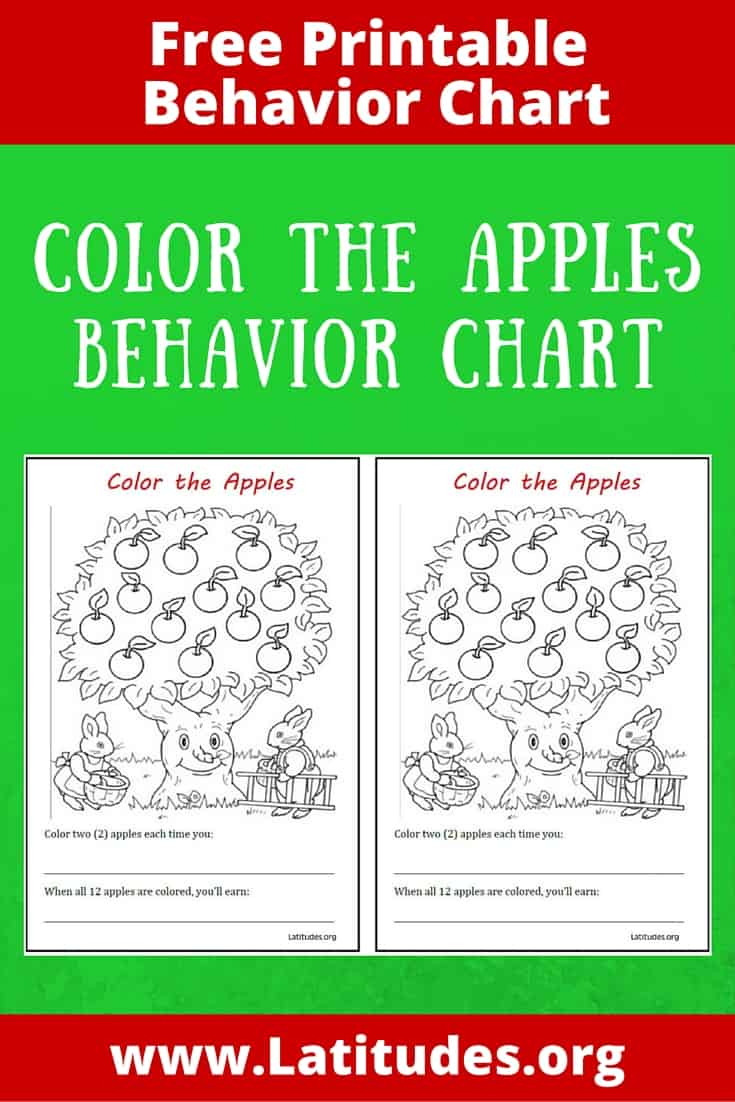 free behavior chart  color the apples