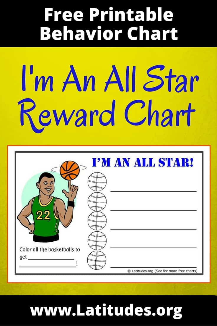 free behavior chart  basketball all star