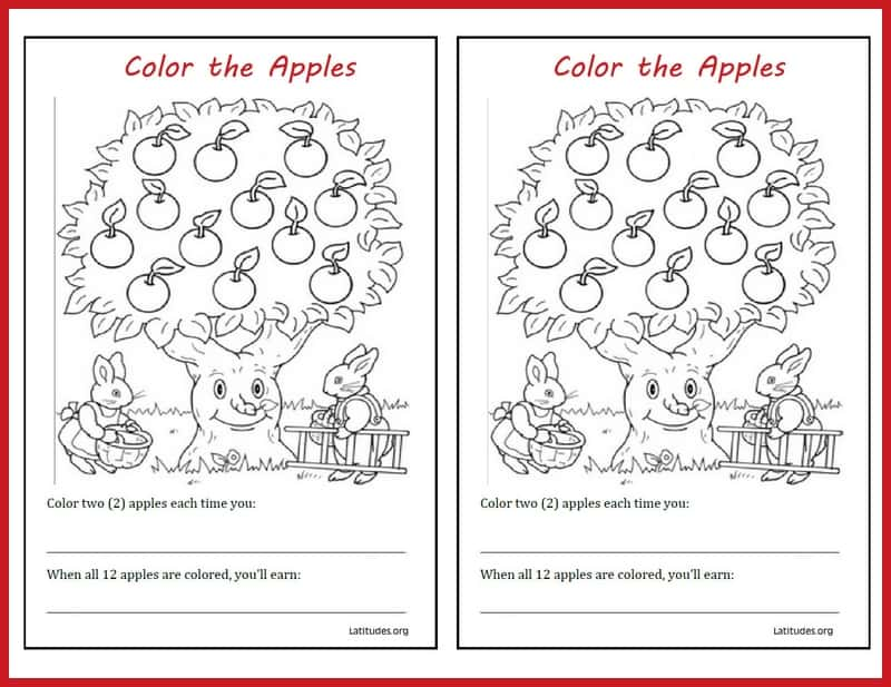 Coloring the Apples Behavior Chart