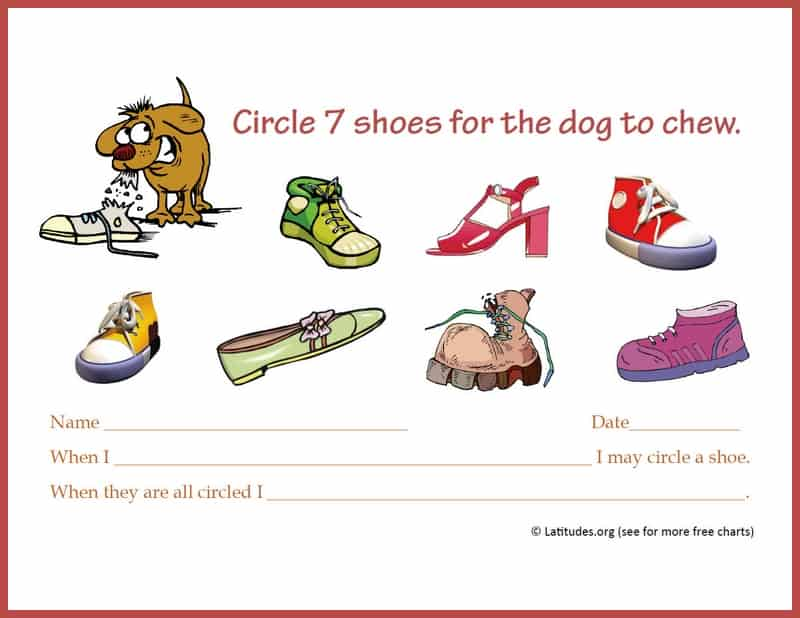 Shoes Incentive Chart for Single Behaviors