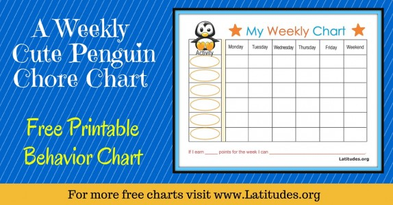 Weekly Penguin Behavior Chore Chart