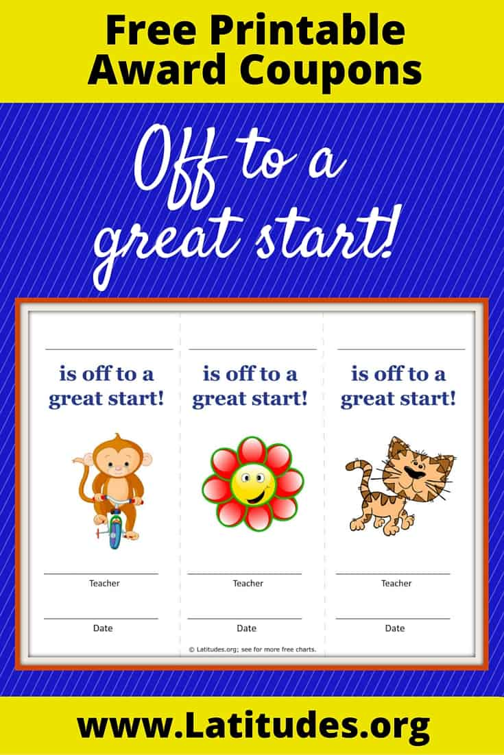 Off to a Great Start Reward Coupons Pinterest