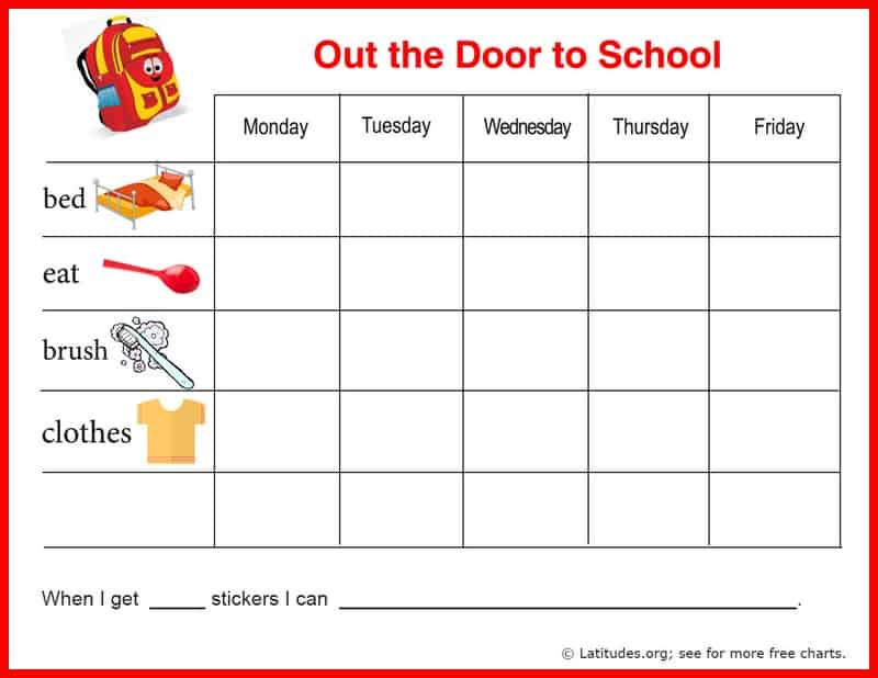 free reward chart  out the door to school
