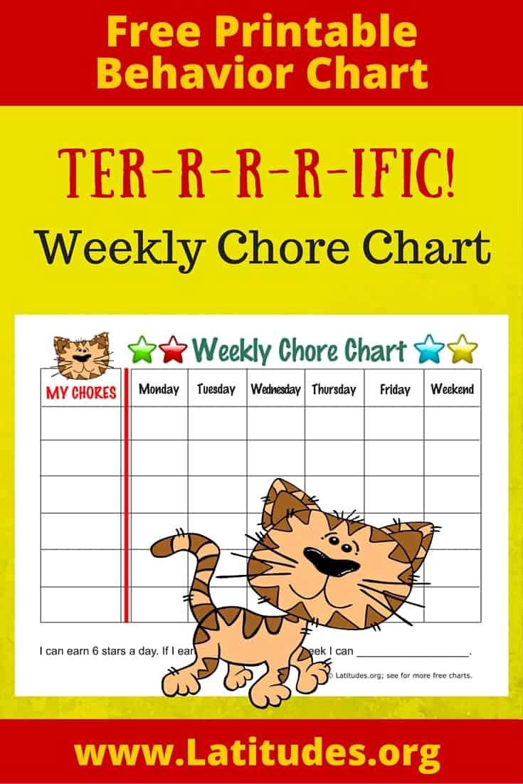 Weekly Tiger Chore Chart Pinterest
