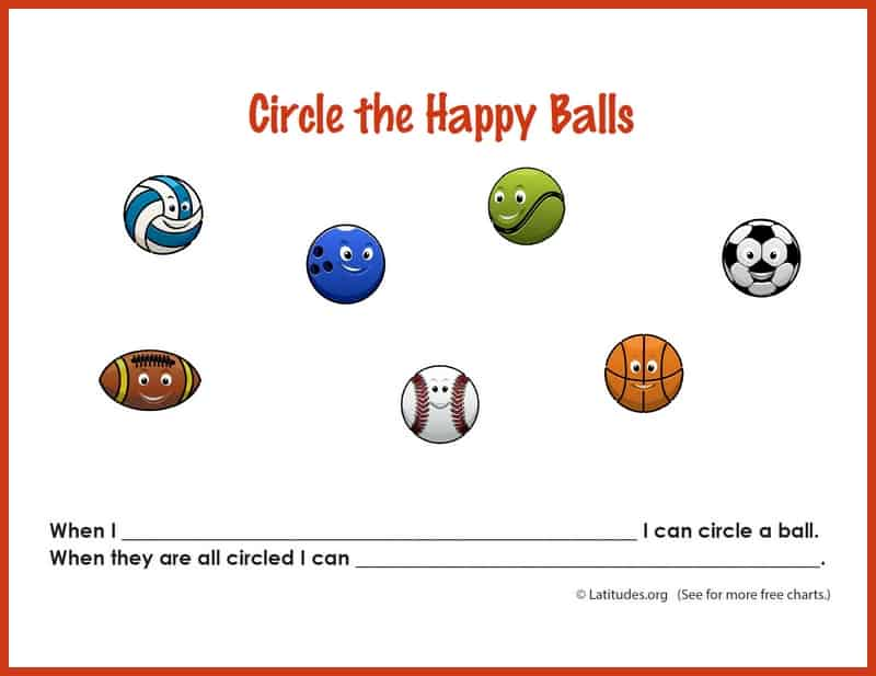 Circle the Happy Ball Sports Behavior Chart