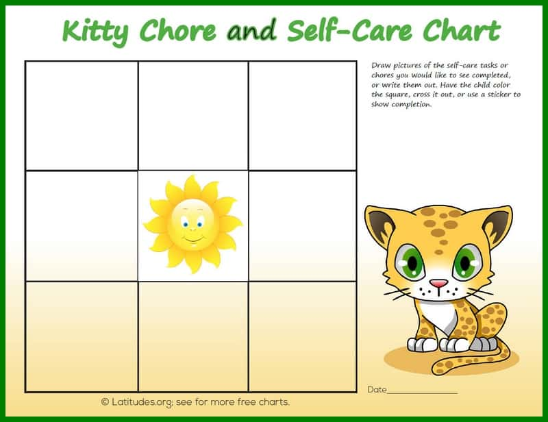 Free Printable Kitty Chore and Self-Care Chart