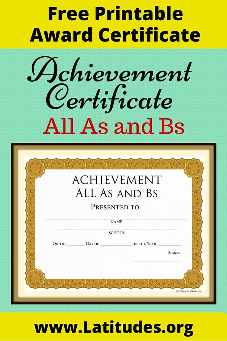 FREE Achievement Certificate All As and Bs – Free Achievement Certificates