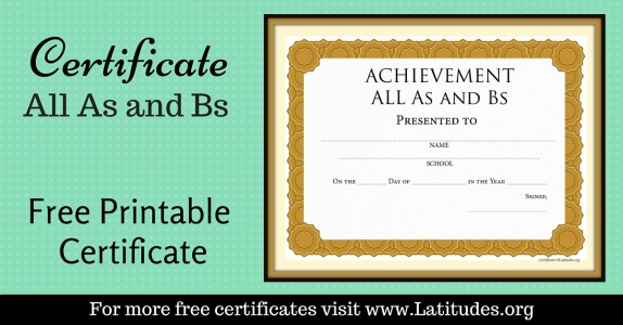 All As and Bs Award Certificate