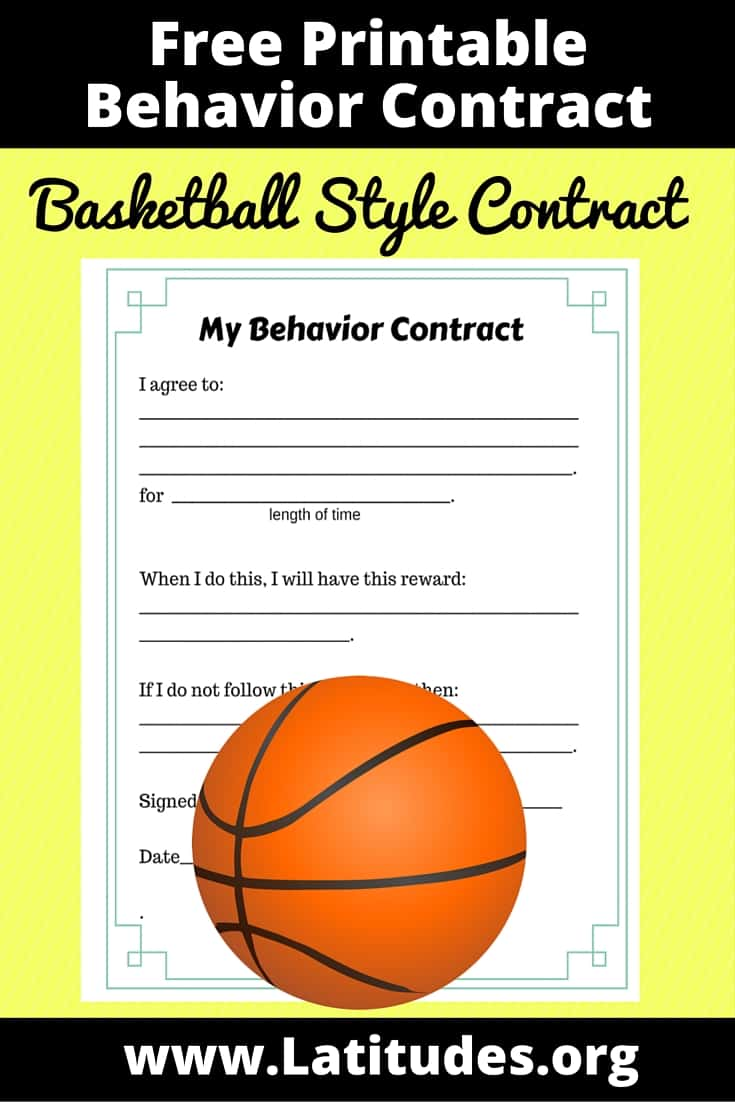 Basketball Style Behavior Contract Pinterest