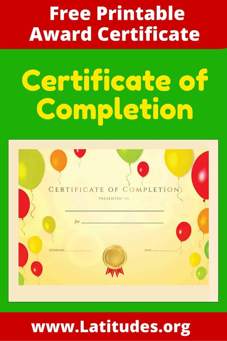 Certificate of Completion Pinterest