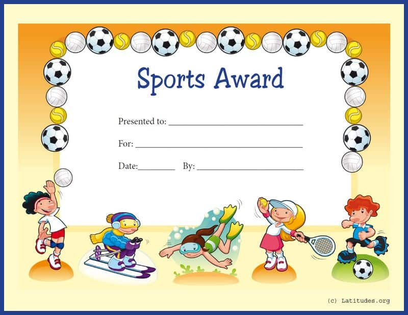 Primary General Sports Award Certificate Border