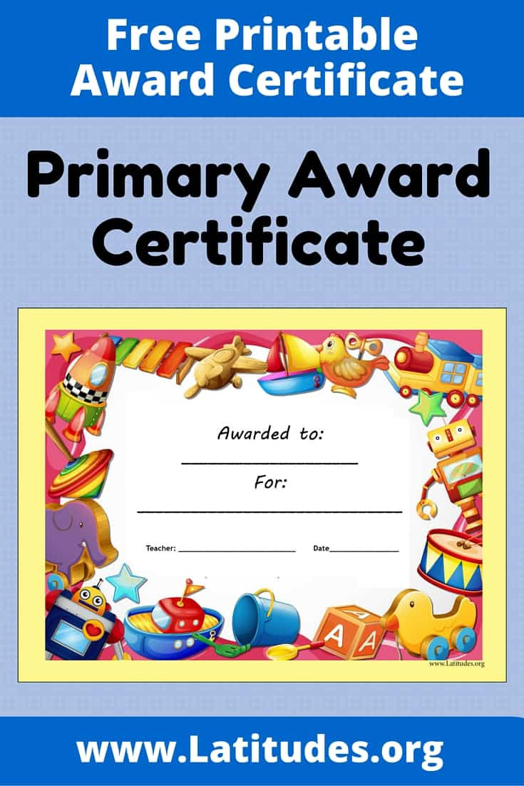 Primary Toy Award Certificate Pinterest
