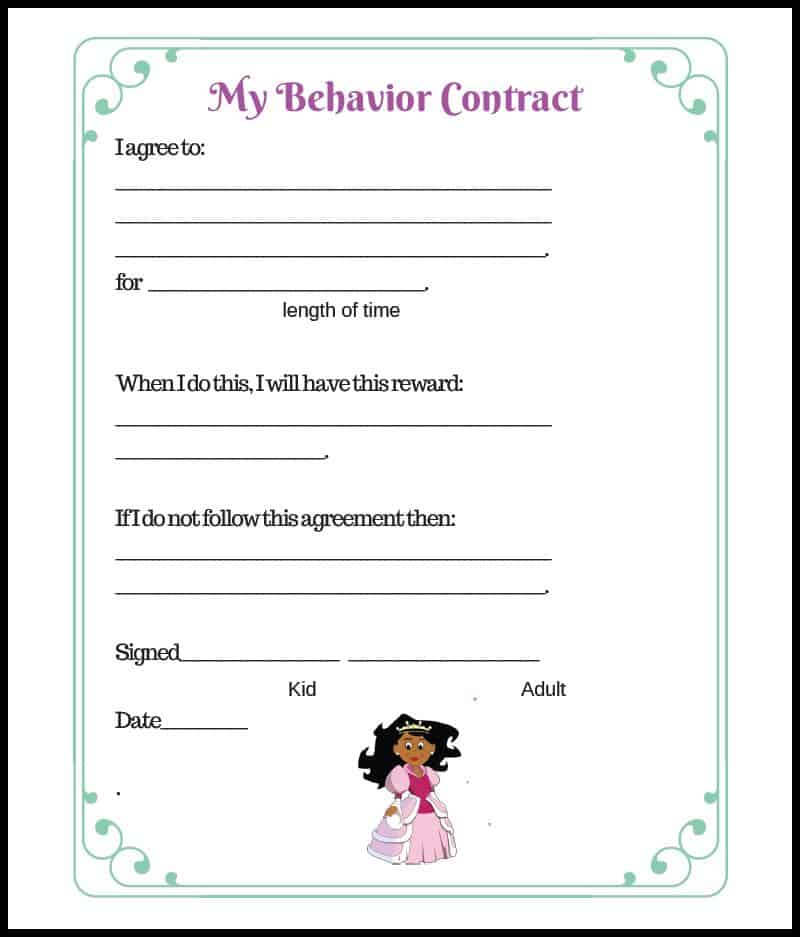 Princess Elementary Behavior Contract Border