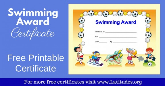 Swimming Award Certificate WordPress
