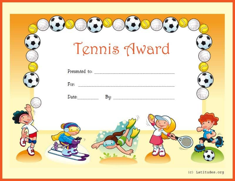 Tennis Award Certificate Border