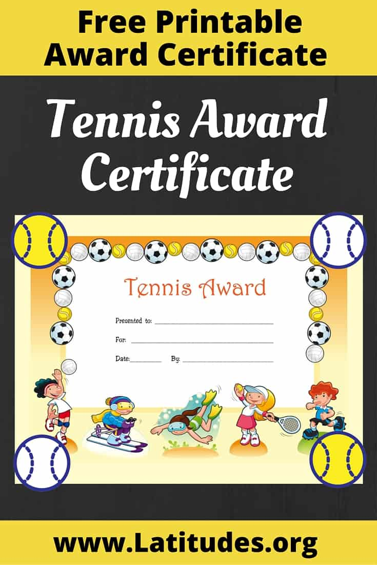 Tennis Award Certificate Pinterest