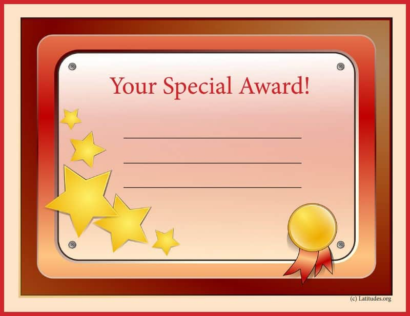 Your Special Award Certificate Border