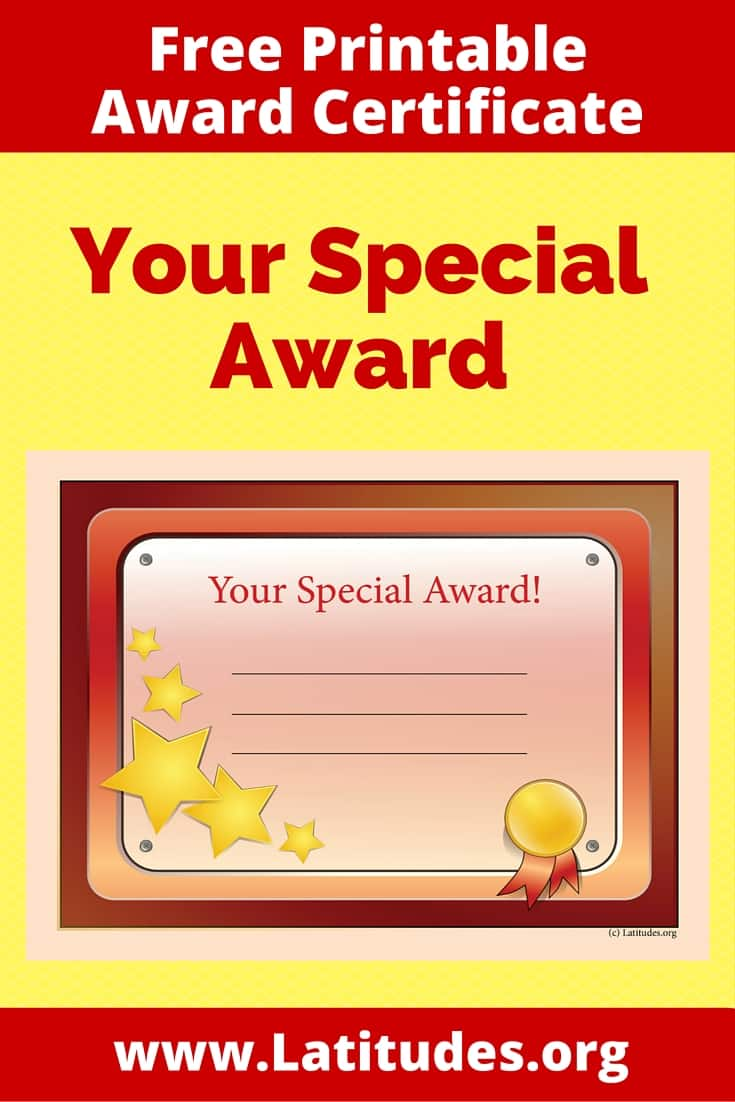 Your Special Award Certificate Pinterest