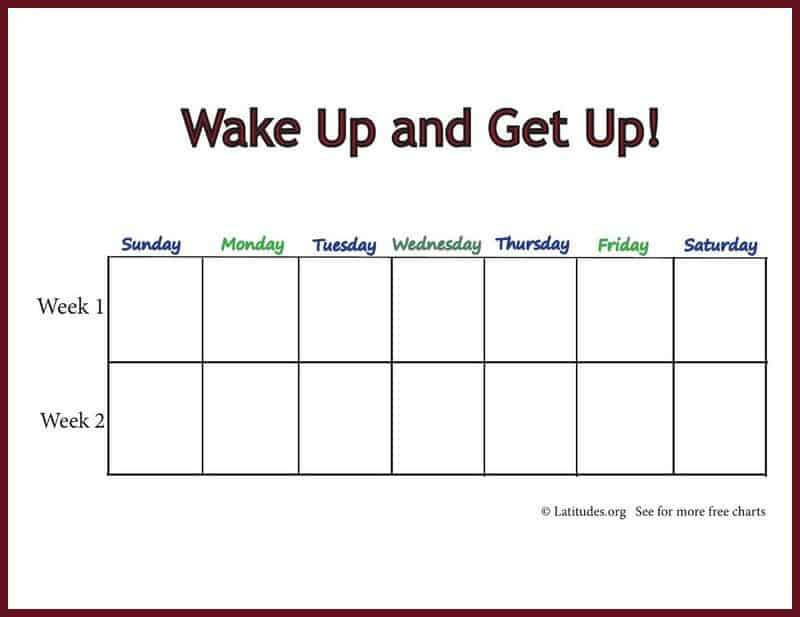 Intermediate Wake Up and Get Up Weeky Behavior Chart Border