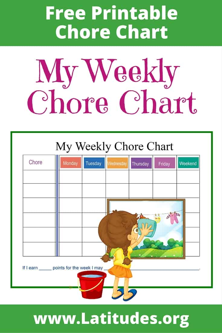 My Weekly Chore Chart Intermediate Pinterest