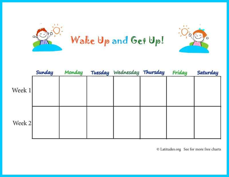 Primary Wake Up and Get Up Weeky Behavior Chart Border