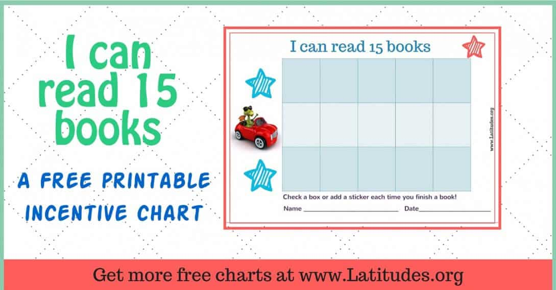 Read 15 Books Car Reading Incentive Chart