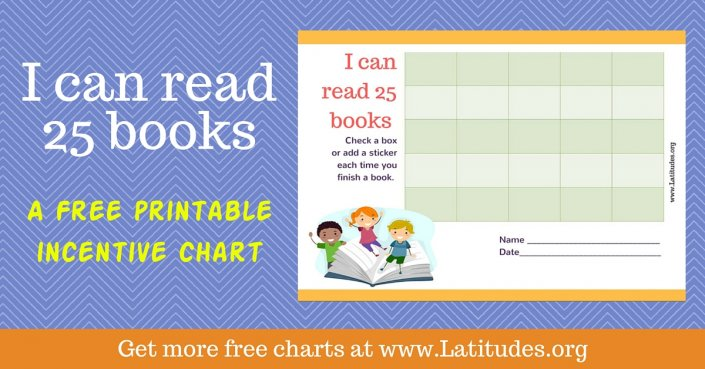 Read 25 Books Kids Reading Incentive Chart