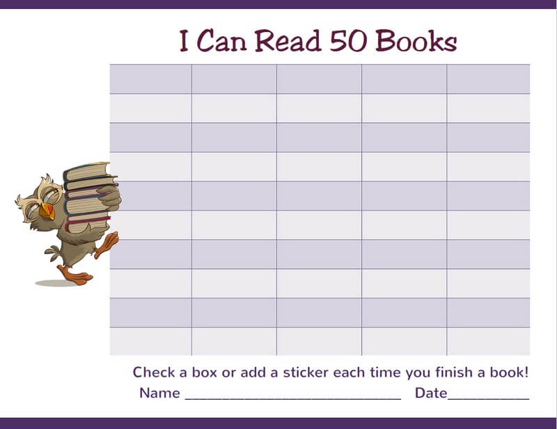 Read 50 Books Owl Reading Chart Border