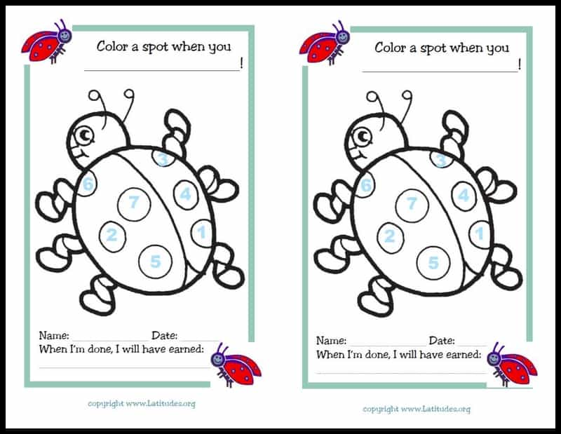 Color the ladybug spots behavior chart