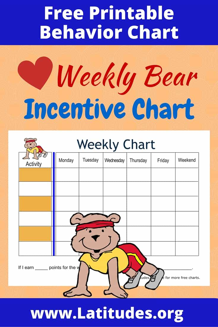 FREE Bear Weekly Behavior Chart
