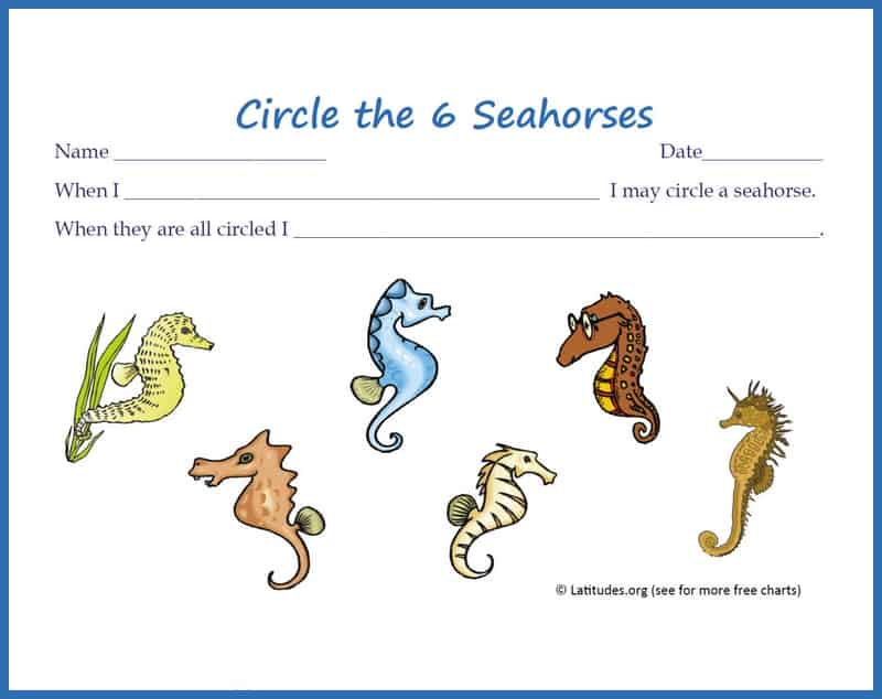 Circle the 6 Seahorses Incentive Chart