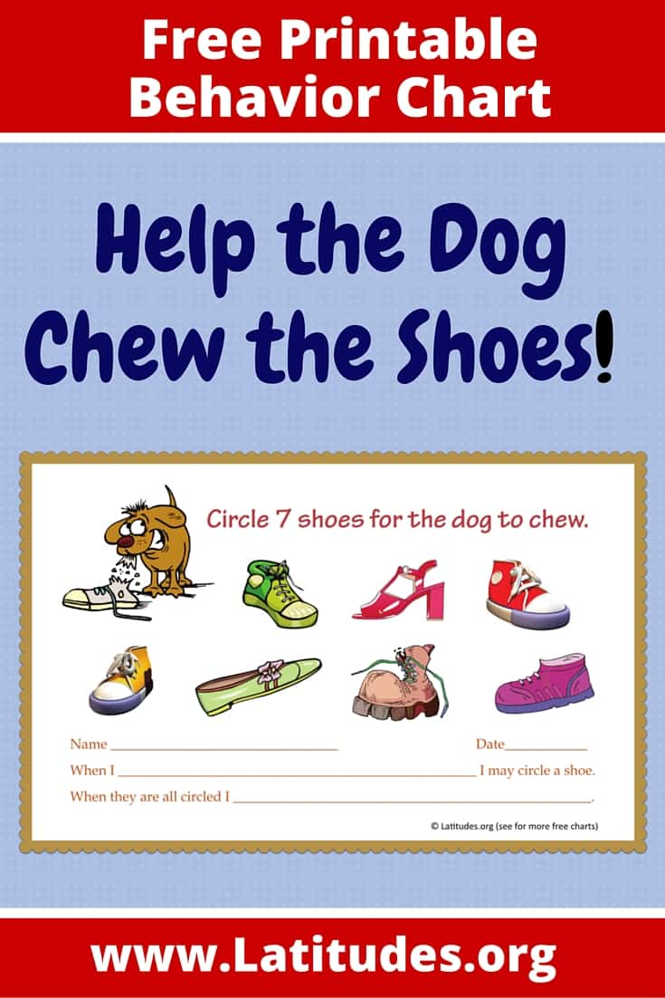FREE Dog Chew Shoes Behavior Chart
