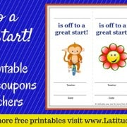 Off to a Great Start Behavior Reward Coupons