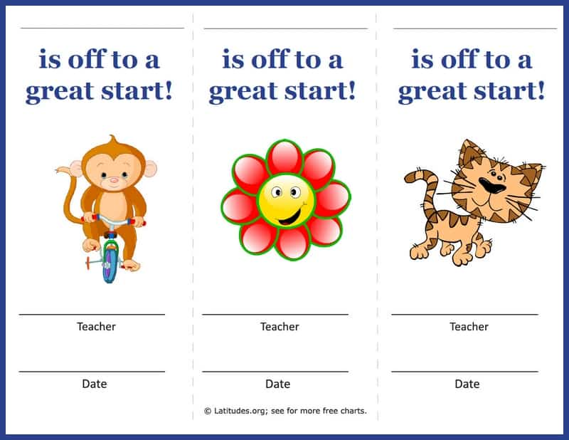 Off to a great start - Teacher award coupons