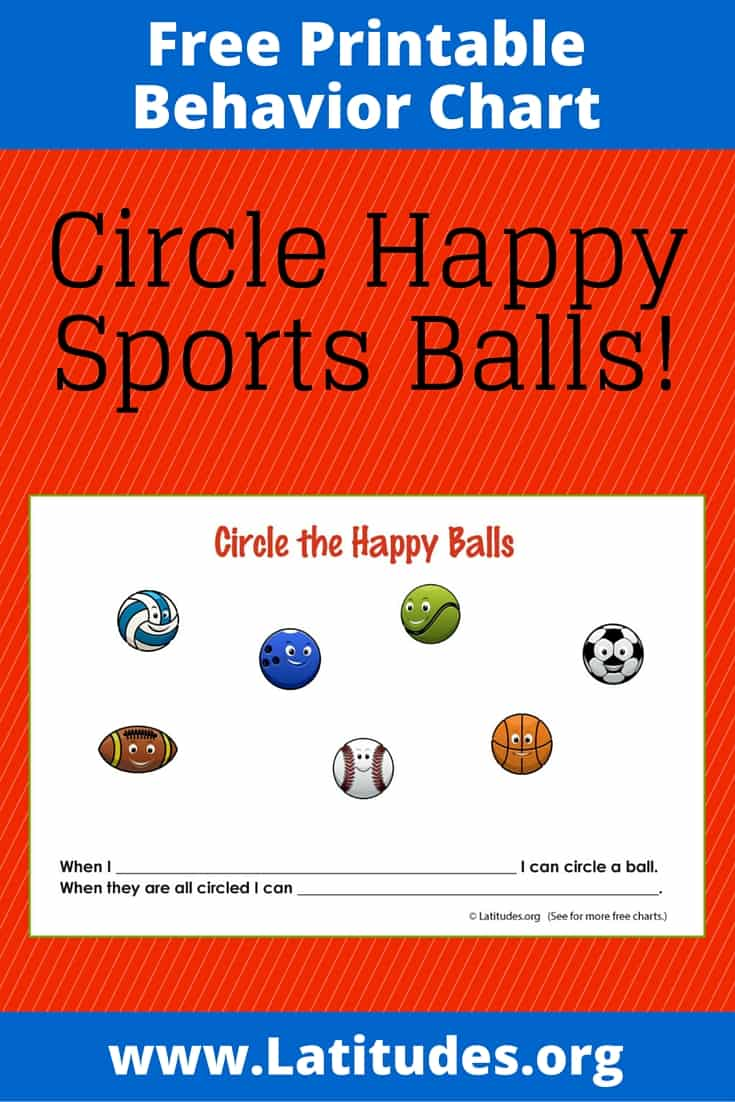 FREE Printable Circle the Happy Balls Behavior Chart