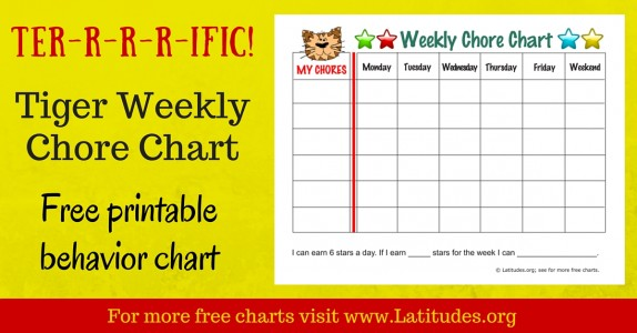 Weekly Tiger Chore Chart WordPress