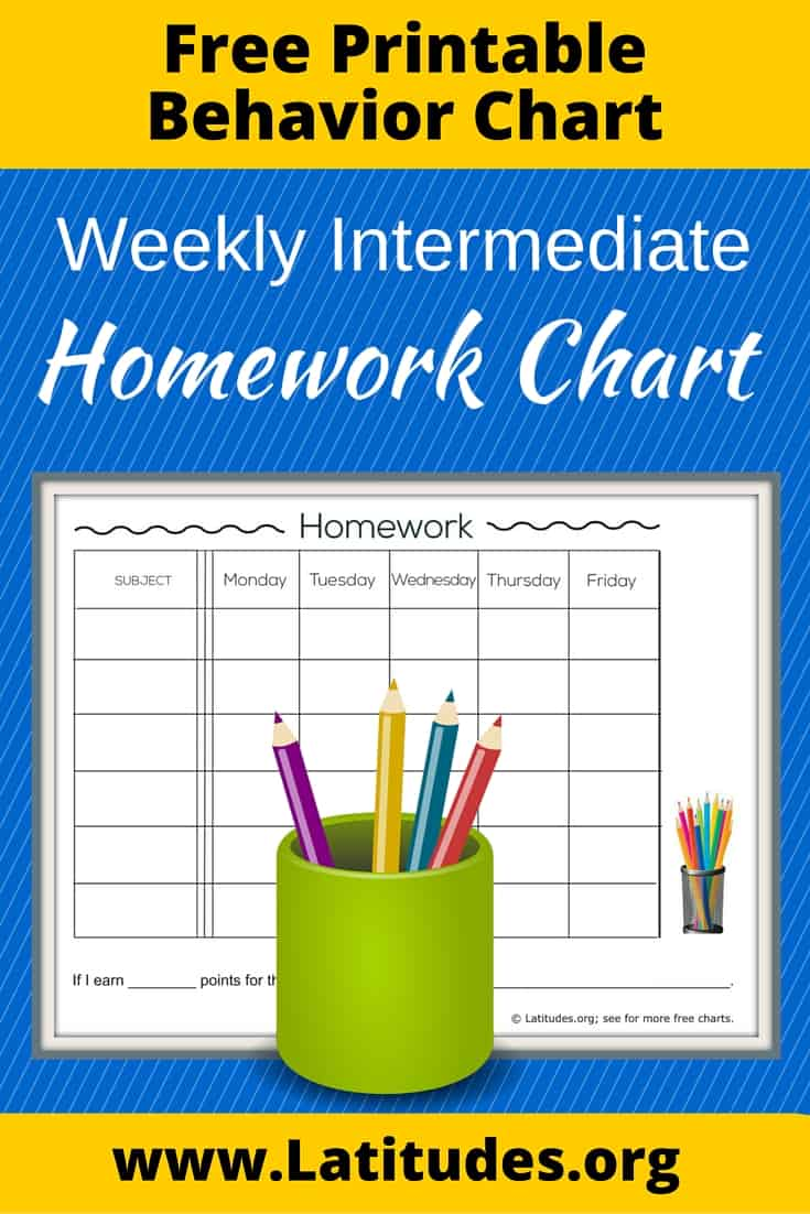 Intermediate Homework Chart Pinterest
