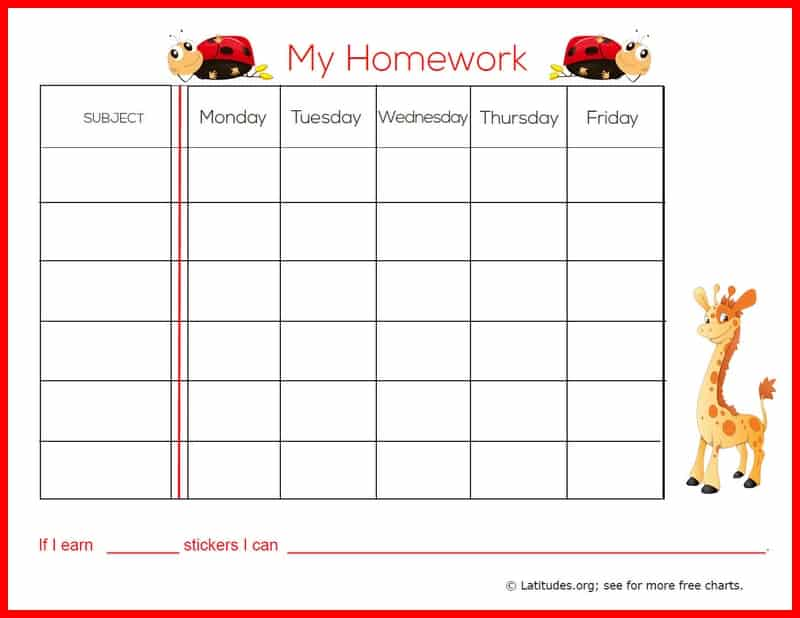 Free Weekly Homework Sticker Chart Primary  Acn Latitudes