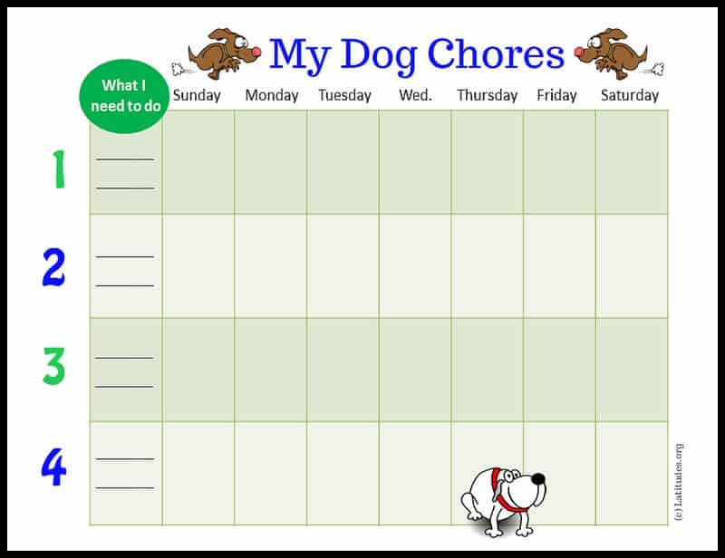 My Dog Weekly Chores Chart Border