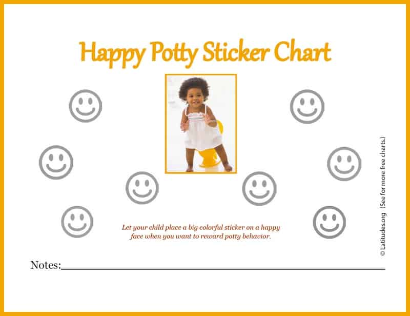 Free Happy Girl Printable Potty Training Sticker Chart
