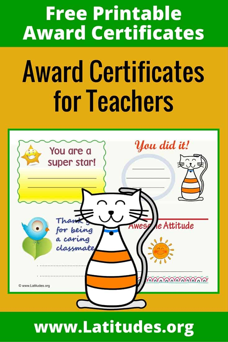 Award Certificates for Teachers Pinterest