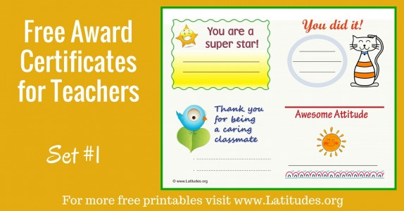 Free Printable Award Certificates For Teachers  Students  Acn
