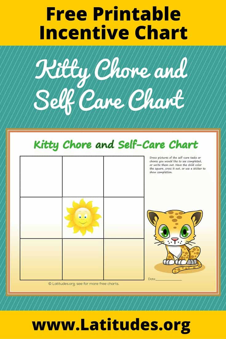 Kitty Chore and Self-Care Incentive Chart Pinterest