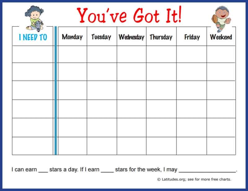 Free Weekly Behavior Chart: You've Got It!