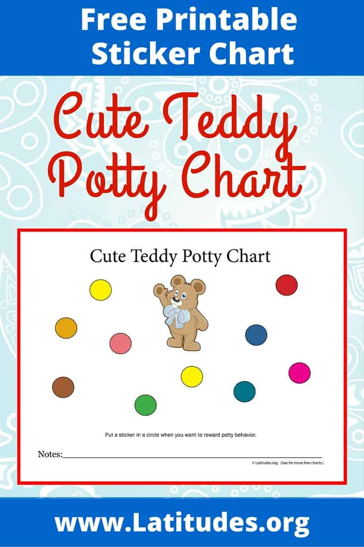 free potty training chart  cute teddy