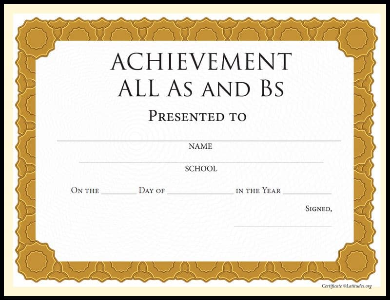 All As Bs Achievement Certificate Border